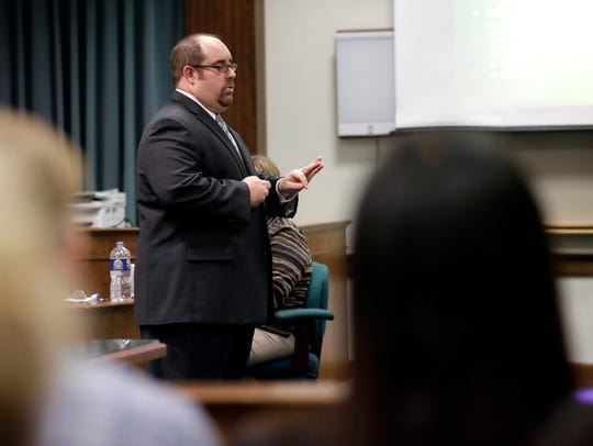 Brown County District Attorney David Lasee presents his opening statement  in Brown County Circuit Court to the jury at the start of the trial for George Burch, who is accused of murdering Nicole VanderHeyden in May 2016.