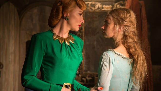Lily James is Cinderella and Cate Blanchett is her evil stepmother in Disney's live-action 'Cinderella.'