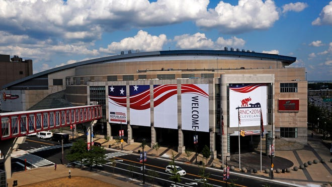 The Quicken Loans Arena in downtown Cleveland, Ohio, is covered in signage in preparation for the upcoming Republican National Convention Wednesday, July 13, 2016.