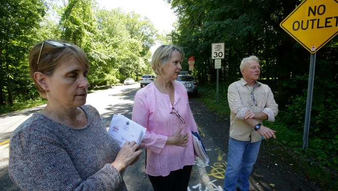Susan Nemesdy, Carol Baxter and Henry Ottley of Palisades at the intersection of Route 9W and Oak Tree Road in the Palisades on Jun. 1, 2017.   The residents are fighting to get the speed limit lowered and some changes to the road which they say is dangerous because of the volume of traffic and bicyclists who travel it on a daily basis.  They cite numerous accidents that has taken place this year alone.