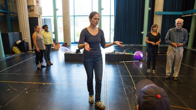 Nichole Hamilton, center, leads an acting workshop with an emphasis on Parkinson's disease on Friday, Nov. 10 at the New Mexico State University Performing Arts Center.
