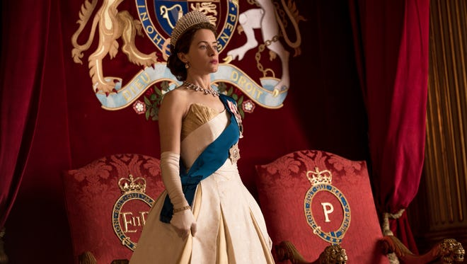 """Queen Elizabeth (Claire Foy) takes in  Prince Philip's investiture on Season 2 of """"The Crown."""""""