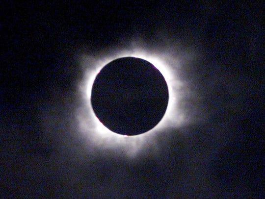 Shown is the solar eclipse above Gmunden, Austria,