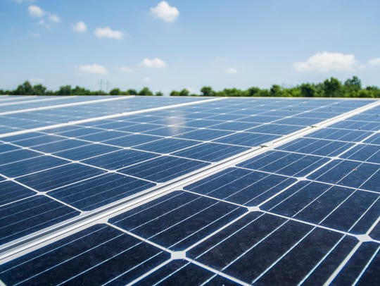 Solar panels are seen at an Indiana Municipal Power