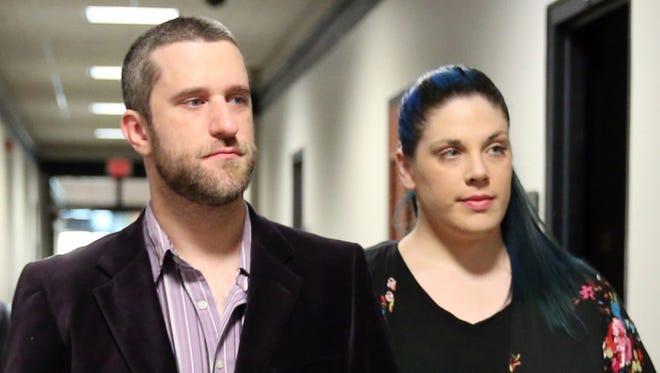 Actor Dustin Diamond enters court with his fiance, Amanda Schutz, at Ozaukee County Justice Center in Port Washington on Thursday, June 25, 2015.