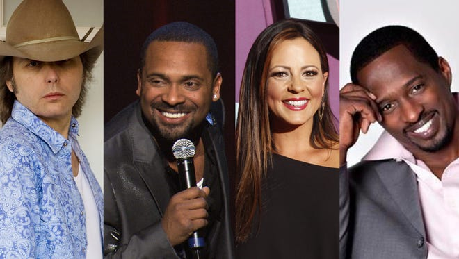 From left, Dwight Yoakam, Mike Epps, Sara Evans and Priest Tyaire all have productions in the River Region this weekend.
