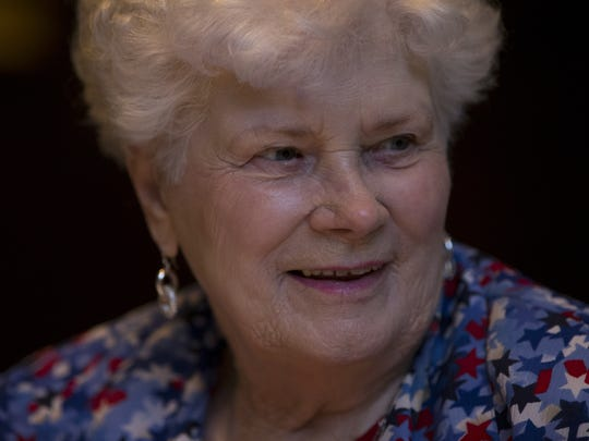 Mary Lou Bennett, 91, is one of the over 90s lunch bunch, pictured at the June 2017 gathering at the Capital Grille in Phoenix.