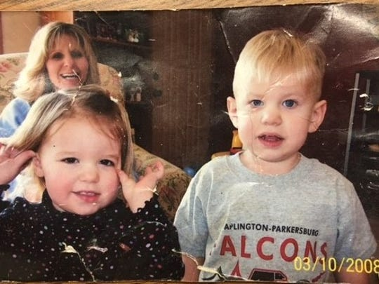 A photo of Patty Hoff and her son Cooper, right, was