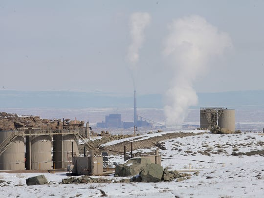 Fossil fuel infrastructure near Vernal, Utah, including the 500-megawatt, coal-fired power Bonanza Power Plant in the distance.