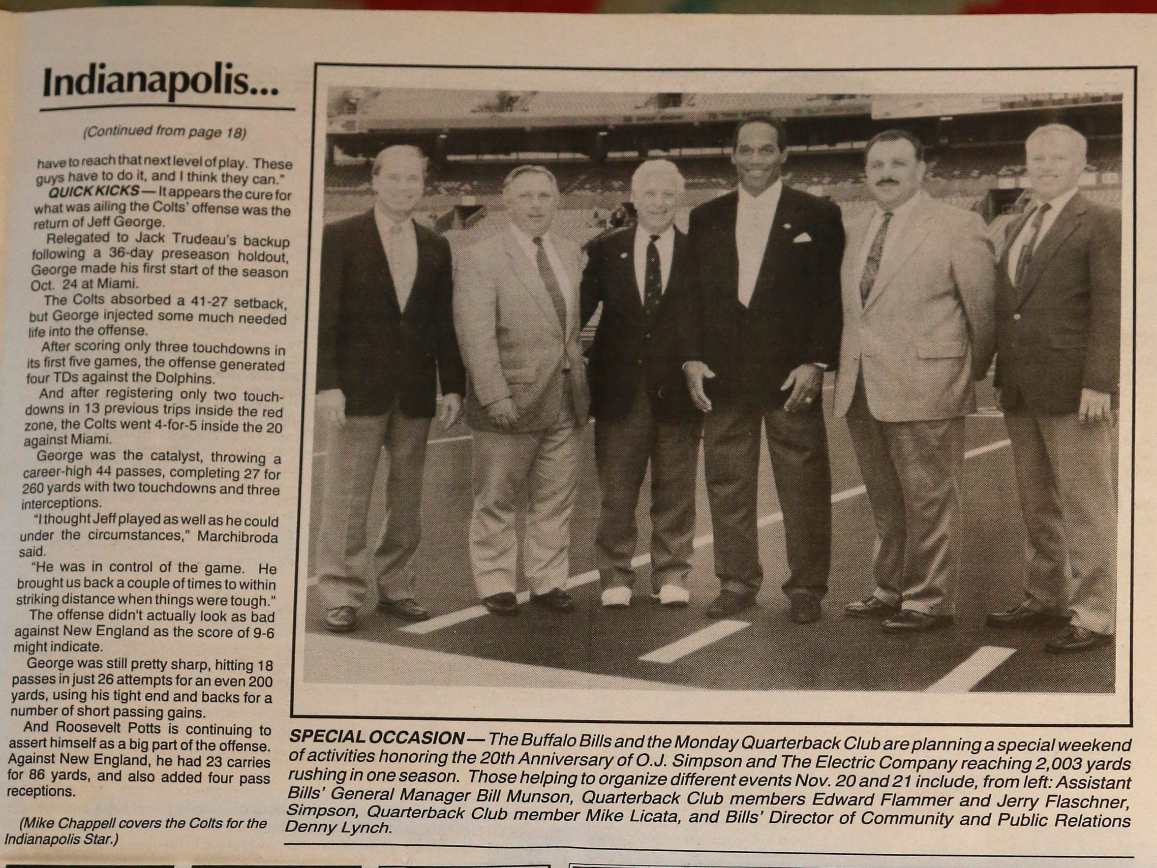 A photo on page 19 of the 'Buffalo Bills Report' shows the following, from left: Bill Munson, the Bills senior vice president of government relations and external affairs; Ed Flammer, then president of the Monday Morning Quarterback Club; Jerry Flaschner, a past president of the club; O.J. Simpson, wearing a pair of Bruno Magli shoes; Mike Licata, a captain in the Erie County Sheriff's Office; and Denny Lynch, then a Bills publicist;