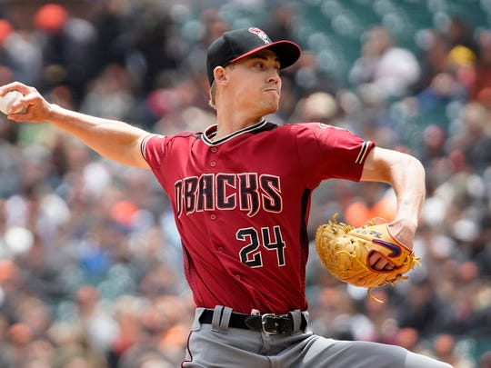 Arizona Diamondbacks pitcher Luke Weaver throws against the San Francisco Giants during the first inning of a baseball game in San Francisco, Sunday, May 26, 2019. (AP Photo/Tony Avelar)