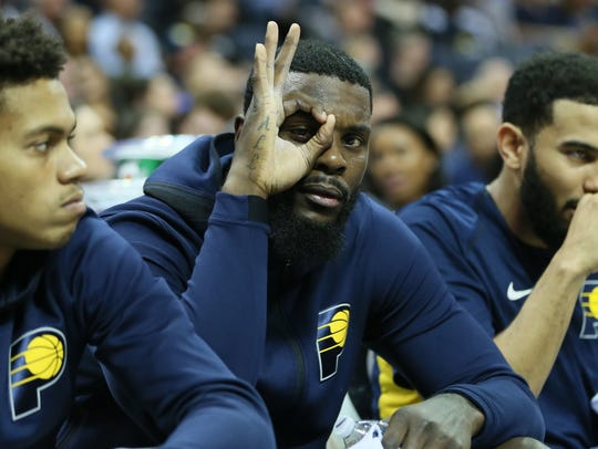 Indiana Pacers forward Lance Stephenson reacts to a