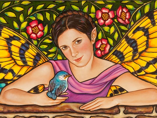 """Fascination with the stained glass of Louis Comfort Tiffany and Edwin Burnes Jones led Pamela Smith to her faux stained glass paintings. Shown here, """"Bluebird."""""""
