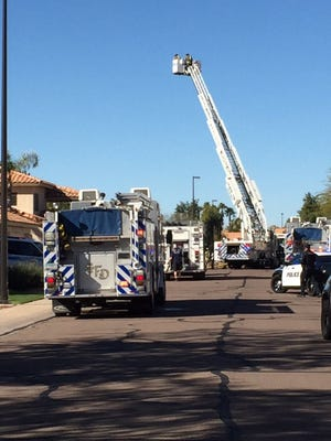 Firefighters battled live ammo and flames while responding to a garage fire at a Gilbert home Sunday morning.