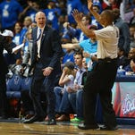 Rick Carlisle yells during Game Three of the Western Conference quarterfinals of the 2015 NBA Playoffs at American Airlines Center on April 24, 2015 in Dallas, Texas.