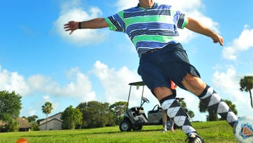 Brian Shermen of Orlando enjoys a game of Footgolf at Mallards Landing golf course in Melbourne for a 18 hole game of Footgolf Wednesday afternoon, Footgolf became a official sport in the US in 2011.