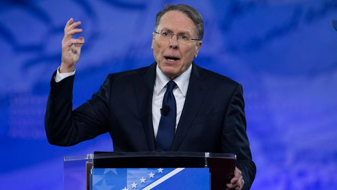 Wayne LaPierre, executive vice president of the National Rifle Association, speaks to the Conservative Political Action Conference in February.