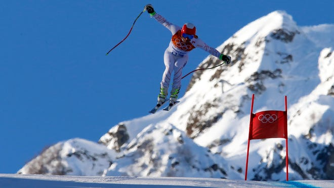 Bode Miller of the USA trains for men's super combined.