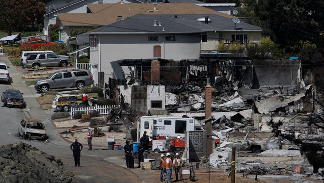 Police and emergency workers survey damage at the site of a gas pipeline explosion in San Bruno, Calif., Sept. 13, 2010. The explosion prompted California regulators to order the utility, Pacific Gas and Electric, to survey all its natural gas lines in the state in hopes of heading off another disaster.