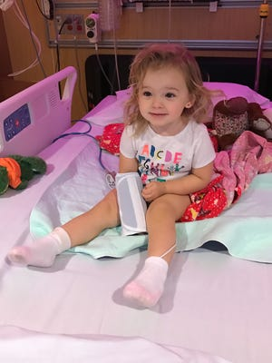 Isabella sat up by herself on Sunday for the first time in four days. She smiled so brightly when she did so.