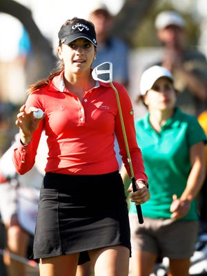 Kim Kaufman reacts after making par on the 9th hole during round one action of the JTBC Founders Cup at Wildfire Golf Club at JW Marriott Phoenix Desert Ridge Resort & Spa last March.