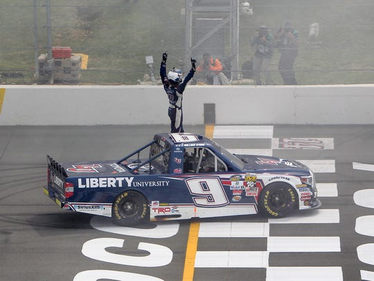 William Byron celebrates after winning the Camping