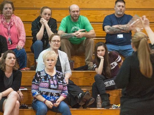 A group listens as Sgt. Danielle LoRusso of the Gloucester County Prosecutor's Office speaks about the telltale signs of substance abuse hidden in a child's room during the 'Hidden in Plain Sight' event held at the Delsea Middle School in Franklinville on Wednesday. The free, public event, was part of a Monroe Township Municipal Alliance joint initiative with the prosecutor's office.
