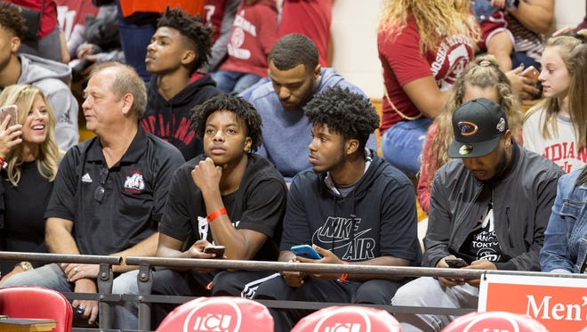 Recruits and fans behind the Indiana bench during the annual Hoosier Hysteria at Assembly Hall, Bloomington, Saturday, Oct. 21, 2017. The event serves as a public introduction to the Indiana University men's and women's basketball teams.