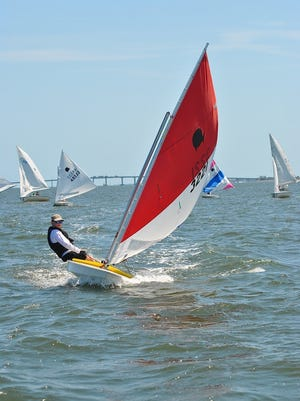 Sunfish racer during a 2014 spring regatta hosted by the Melbourne Yacht Club