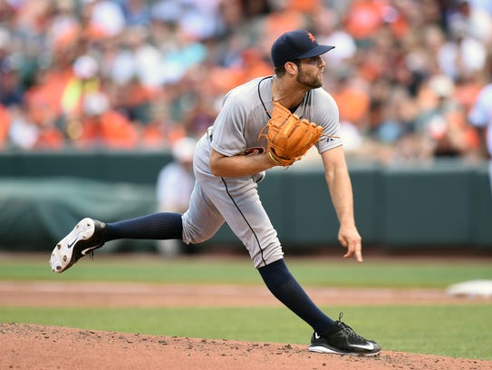 Daniel Norris follows through on a second-inning pitch