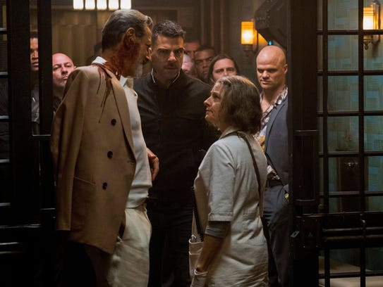 Jeff Goldblum (left) squares off with the Nurse (Jodie