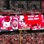 Tyler Martinez, a 29-year-old Chandler resident, is a dedicated Arizona Cardinals fan. He'll be in North Carolina this weekend for the game against the Panthers. How does your fandom compare to Martinez's? Martinez made it on the big screen #riseupredsea.