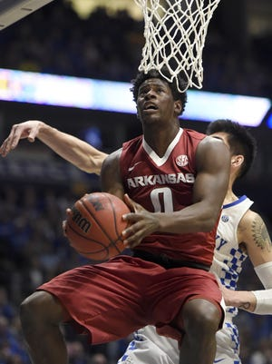 """After every game there'd usually be more than 200 text messages from people I know in Jackson and at Motlow and other places telling me I played well or something like that and just keep it up,"" Arkansas guard Jaylen Barford (0) said. ""After we lost to North Carolina (Sunday night), I think I had maybe 600 texts and 30-something tweets."""