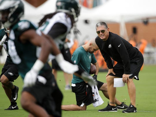 Philadelphia Eagles Defensive Coordinator Jim Schwartz during an NFL football training camp in Philadelphia, Monday, July 24, 2017. (AP Photo/Matt Rourke)
