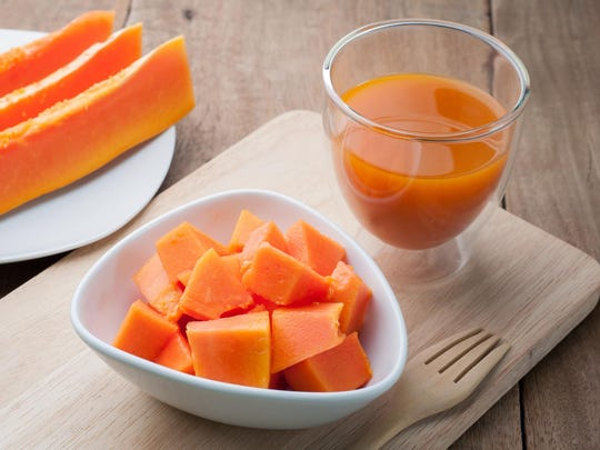 Group of orange papaya on white dish, papaya juice.