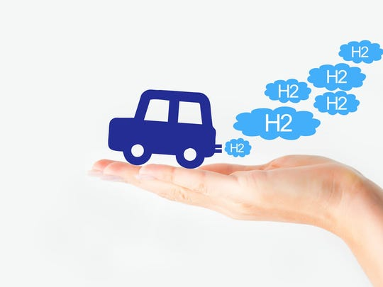 Hand holding icon of a car exhaling clouds of H2