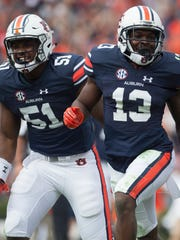 Auburn defensive back Javaris Davis (13) celebrates