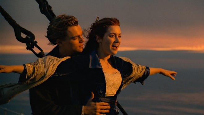 "Leonardo DiCaprio (left) and Kate Winslet set sail in ""Titanic."""