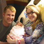 Brad and Brittany Bates with their new baby girl Brylee born at St. Vincent Hot Springs.