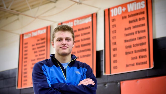 Tech's Austin Brenner recorded his 100th and 101st wins during Saturday's Kiffmeyer Duals at St. Cloud Tech High School.