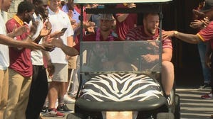 Redskins fan gets zebra striped golf cart