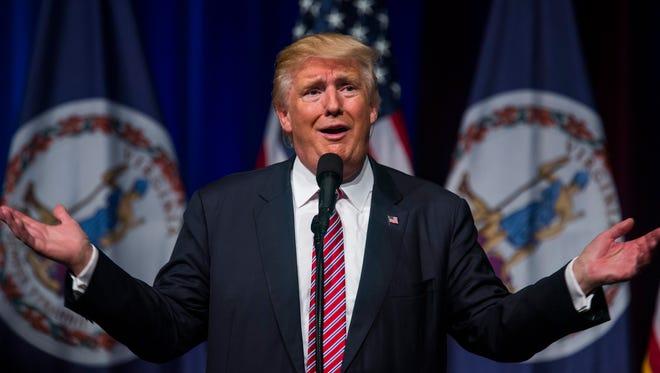 Donald Trump speaks at a rally in Ashburn, Va.