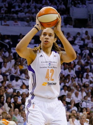 Phoenix Mercury center Brittney Griner shoots  against the Minnesota Lynx  during Game 1 of the WNBA Western Conference finals Friday, Aug. 29,  2014 in Phoenix.