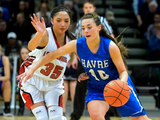 Havre's Kyndall Keller, right, is back for the defending champion Blue Ponies.