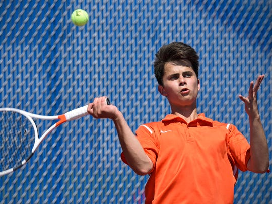 Tech's Richard Zimring concentrates during a May 2016 match against Brainerd at Apollo High School in St. Cloud.