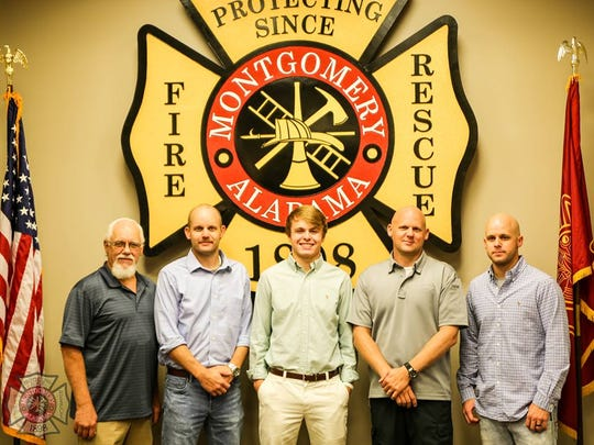 Tanner Payton,center, is a recentgraduate of Autauga Academy. Payton was named the recipient ofthis year'sAcademic Performance Scholarship. Every year, the Montgomery Fire Wives organization awards the scholarship tothe child of an active or retired Montgomery Fire/Rescue employee.Payton's father, Ashley Payton, is a captain in the fire department, along with two uncles who both serve as lieutenants.