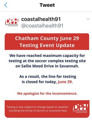 Monday morning's tweet from the Coastal Health District indicated testing was at capacity.