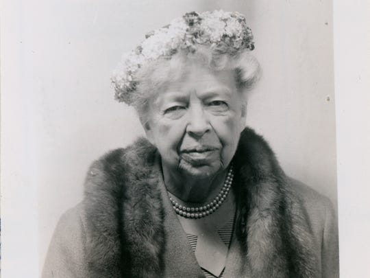 The photograph of Eleanor Roosevelt that accompanied her 1957 pistol permit application.