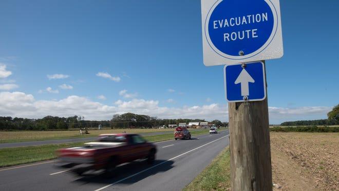 Evacuation sign along Del. 1 in Milton.