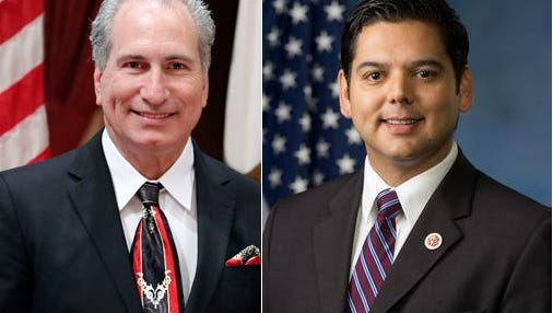 State Sen. Jeff Stone, a Republican who lives in La Quinta, left, and U.S. Rep. Raul Ruiz, a Democrat from Palm Desert, will compete this November for the 36th Congressional District seat.